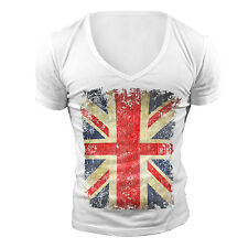 DEEP V NECK T-SHIRT UNION JACK FLAG GEORDIE SHORE TOWIE GREAT BRITAIN MUSCLE TOP