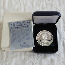 1977 SILVER JUBILEE 45mm HALLMARKED SILVER PROOF MEDAL - boxed/coa