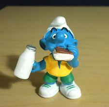 Smurfs Milk & Sandwich Smurf Figurine Rare 1999 Vintage Toy PVC Figure Lot 20463