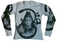 SHIVA Hindu God Statue Karma Religion Designer Tattoo Poster Art Long T-SHIRT M