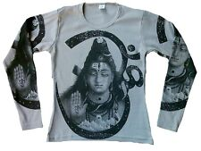 SHIVA Hindu Gott Statue Karma Religion Designer Tattoo Poster Art Long T-SHIRT M