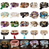 Multilayer Women Jewelry Natural Stone Crystal Turquoise Bangle Beaded Bracelet