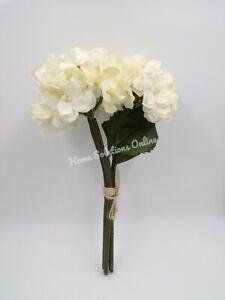 "Pottery Barn Faux Lace Hydrangea Flowers Bundle Ivory 12.5"" #A39"