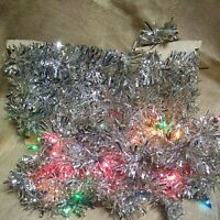 2 Antique tinsel spiral twinkle trim Christmas feather tree Garland 1 with light