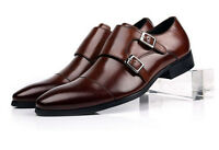 Formal UK Size New mens real Leather Dress Shoes Double Monk Strap Buckle brown