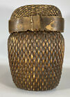 Antique Chinese 12  Fish Basket 1920s Willow Wood With Lid Vintage Container