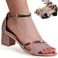 Damenschuhe Glitzer Riemchen Sandaletten Sandalen High Heels Pumps Peep Toe