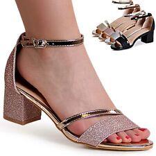 Damen Glitzer Riemchen Sandaletten Sandalen High Heels Pumps Peep Toe