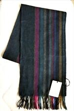 New PAUL SMITH 100% Wool Striped Navy Colours SCARF New Tags MADE IN ENGLAND