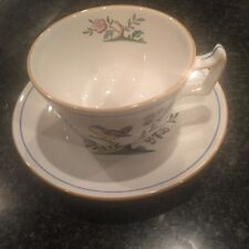 SPODE ENGLAND QUEENS BIRD Y-4973 MUSTARD TRIM FTD CUP & SAUCER(S) FREE SHIPPING
