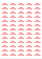 520 OPEN WITH CARE Stickers in RED - Self Adhesive Labels