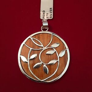 Sterling Silver Pendant With Wood