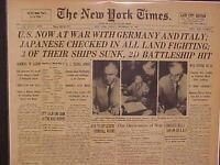 VINTAGE NEWSPAPER HEADLINE ~USA DECLARATION WORLD WAR 2 ON JAPAN & GERMANY WWII~