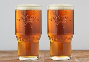 2x Greene King 1799 IPA Bury St Edmunds One Pint 20oz Embossed Glass New CE M19