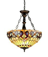 """Stained Glass Chloe Lighting Victorian 3 Light Inverted Pendant Fixture 18"""" Wide"""