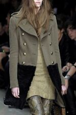 BURBERRY PRORSUM Wool & Shearling Fur Skirt Military Trench Coat 38 / 2 XS