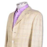 NWT Belvest Yellow Plaid Silk Linen Three Button Sportcoat STUNNING 42 42r