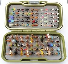 GS-VS FLY BOX 100 Trota Pesca Mosche PISCIA, si asciuga & 10 Lummies & Bretelle 10