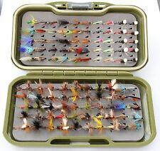 GS-VS Fly Box 100 Trout Fishing Flies WETS, DRIES & 10 LUMMIES & 10 SUSPENDERS
