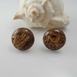 Vintage Lacquered Wood Chip Shaving Domed Button Cuff Links