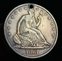 1861 Seated Liberty Half Dollar 50C High Grade AU Detail Silver US Coin CC2815