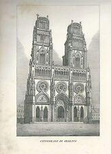 1849 CATTEDRALE DI ORLEANS copperplate Pomba Ed. Cathédrale Sainte-Croix Orléans