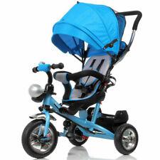 Bakaji Triciclo Passeggino Maniglione a Spinta Bambino Sedile Girevole Cappotta - Blu (02831832)