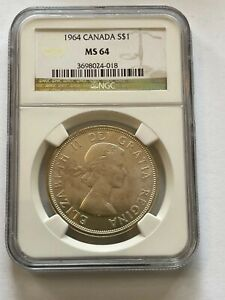 1964 CANADA SILVER $1 NGC MS 64
