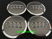4X AUDI CHROME & GREY 68mm 69mm ALLOY WHEEL CENTRE CAPS A3 A4 A5 A6 TT RS4 Q5
