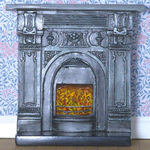 DOLLS HOUSE 1/12th SCALE VICTORIAN STYLE FIREPLACE WITH FIRE BASKET