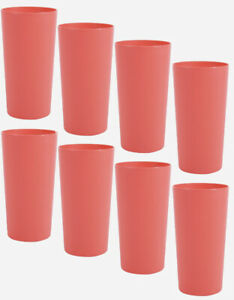 Mainstays Plastic Tumblers, 26 Ounce, Set Of 8, Coral Bell, Drinking Glasses NEW