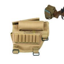 Tan Tactical Rifle Gun Buttstock Cheek Rest Ammo Pouch Holder .308 .300 Winmag