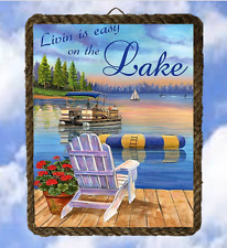 Lake 19 Lake House Life is easy Gift Lake  Wall Decor Art Prints Fishing framed