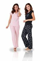 Ladies Short Sleeve 100% Cotton PJ'S Set Nightwear Womens Pyjamas