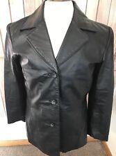 Womens G-III New York Black Leather Lined Blazer Jacket Coat Size Med