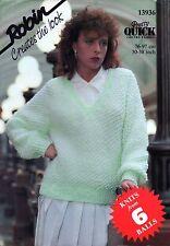 "~ Robin Knitting Pattern For Lady's Honeycomb Design V-Neck Sweater ~ 30"" ~ 38"""