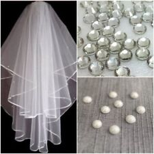 Ivory White 2t Bridal Wedding Veil DIAMANTE CRYSTALS + PEARL BEADS Comb Elbow