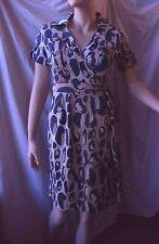Diane von Furstenberg DVF blue beige ivory Leopard Print Wrap Dress  4 6 XS EUC