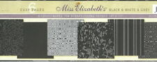 Miss Elizabeth's 12 x 12 Scrapbooking 6 Page Paper Set - BLACK WHITE GREY