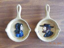 Set 2 Vtg Mini Cast Iron Pan Trivet PA Dutch Amish Spoon Rest - John Wright, Inc