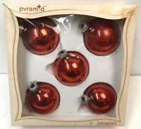 Vintage Pyramid RED Glass Balls Christmas Ornaments Rauch Lot of 5