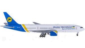 1:400 JC Wings Ukraine International B777-200ER Passenger Airplane Diecast Model