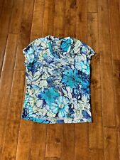 CHICO'SWomen's Floral Print  Blue, Green and White S/S Shirt Size 1