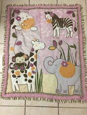 CoCaLo Baby Jacana Pink Jungle Quilt Comforter Animal Blanket VGUC