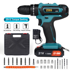 21V Cordless Drill 2 Speed Electric Impact Drill/Driver with Bits Set & Battery