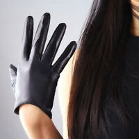 TECH GLOVES Real Leather Short Black Genuine Lambskin Sheepskin 16cm Touchscreen
