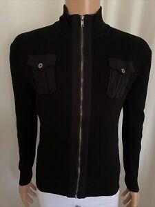 Jonathan Adams Men's Black Zip Up Cardigan Ribbed Cotton Pockets Casual M VGUC