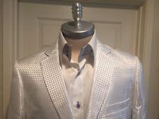 Leonardi Shiny White On White Dinner Jacket with Square Design 2 Btn XL=US 42