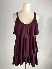Women's Plum Color Tiered Ruffled Top With Gold Ring Detail Size Small