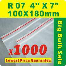 "1000 x R07 100X180mm(4""X7"") Resealable/ Zip Lock ZipLock Plastic Seal Bags"